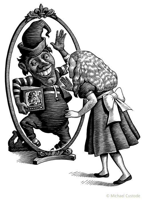 Woodcut-style illustration showing Alice, from Alice in Wonderland, looking in a mirror while the reflection shows a jester holding a TV under his arm.