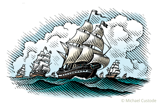Woodcut-style illustration of an armada of sailing ships on the ocean.