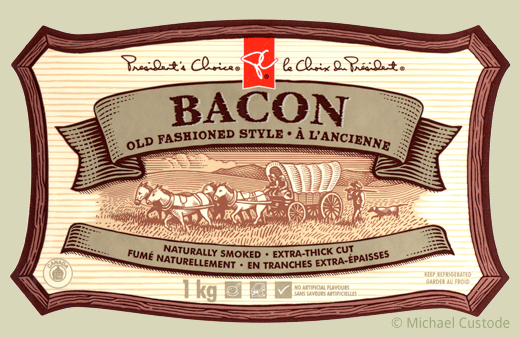 Bacon package label featuring woodcut-style illustration of a horse-drawn covered wagon.
