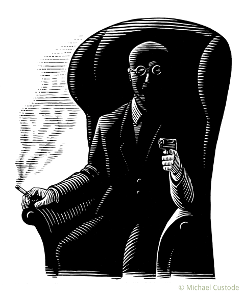 Woodcut-style illustration showing a bald man with dark glasses sitting in a shadowy chair. In one hand he holds a smoking cigarette, in the other, a smoking gun.