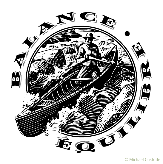 """A circular logo featuring a woodcut-style illustration of a man canoeing through rapids. On one side is the word """"balance"""", on the other the word """"equilibre""""."""