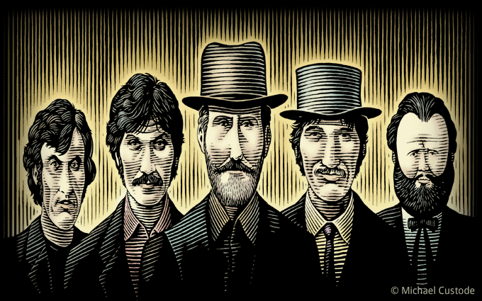 Woodcut-style illustration showing the five members of the music group The Band.