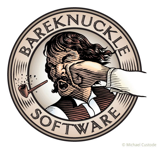 Circular logo featuring the words Bareknuckle Software and a woodcut-style illustration of a man being punched in the mouth as his broken clay pipe flies away.