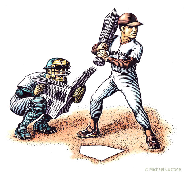 Woodcut-style illustration of a baseball batter holding a rolled up newspaper instead of a bat and a catcher holding a newspaper open in front of him.