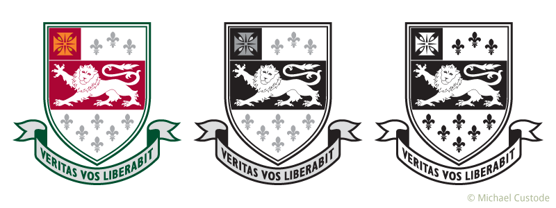 "Three versions of Bayview Glen crest featuring a cross, several fleur-de-lis and a stylized lion passant on an escutcheon. On a ribbon beneath is the motto ""Veritas vos liberabit."""
