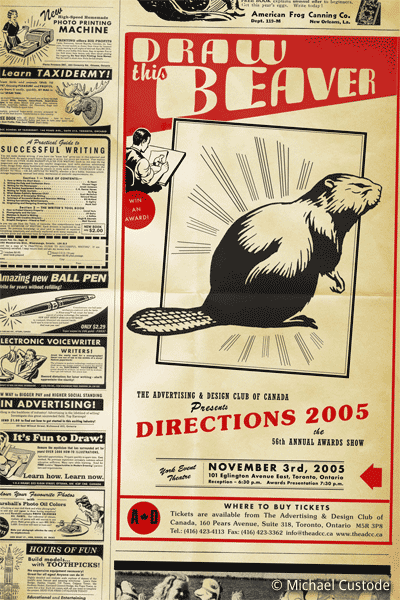 "Retro-style ads on a yellowing page, featuring a prominent ad ""Can you Draw This Beaver?"""