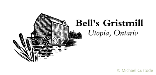 Logo for Bell's Gristmill featuring a woodcut-style illustration of an old mill on a pond with bullrushes in the foreground.