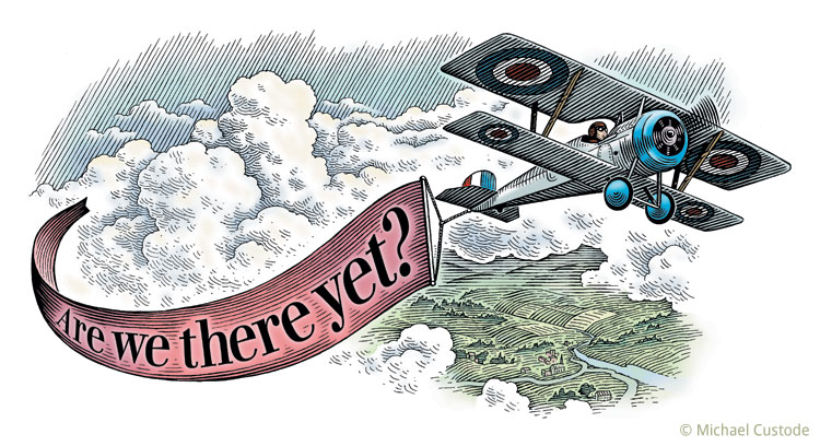 """Woodcut-style illustration of an old biplane pulling a banner that says """"Are we there yet?"""""""