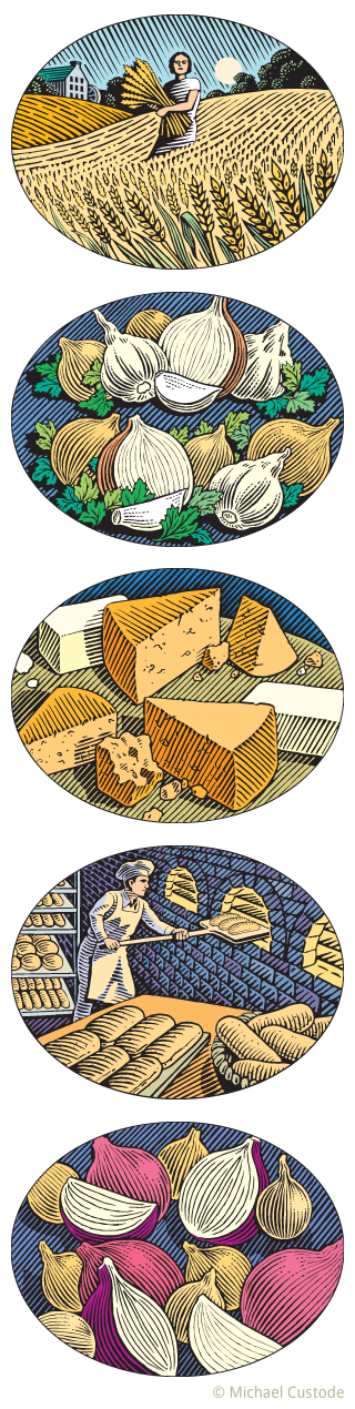 Series of five woodcut-style illustrations showing from top to bottom: a woman in a wheat field holdings sheaves of wheat; onions and garlic; assorted cheeses; a baker putting hot dog buns in a brick oven; and a variety of onions.
