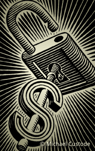 Woodcut-style illustration of a key in the shape of a dollar sign inserted into an unlocked lock.