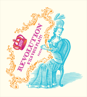 """Woodcut-style illustration of a Marie-Antoinette-like woman sitting, playing the harp. Instead of a harp she holds  an elaborate, tilted frame which features a crown and the words """"Revolution s'ils vous plaît!""""."""