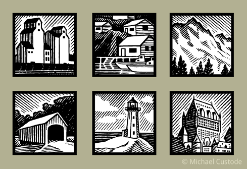 Series of six woodcut-style illustrations: wheat silos from the Prairies; an East coast fishing village; A mountain in the Rockies;  a covered bridge; a lighthouse; and the Chateau Frontenac in Québec City.