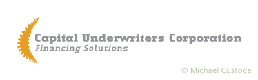 "Logo design for Capital Underwriters Corporation featuring the company name, the words ""Financing Solutions"" and, on the left, a stylized letter ""C."""