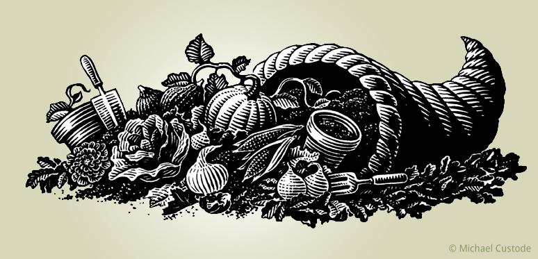 Woodcut-style illustration of a cornucopia with gardening tools, dirt and freshly gardened vegetables at its mouth.