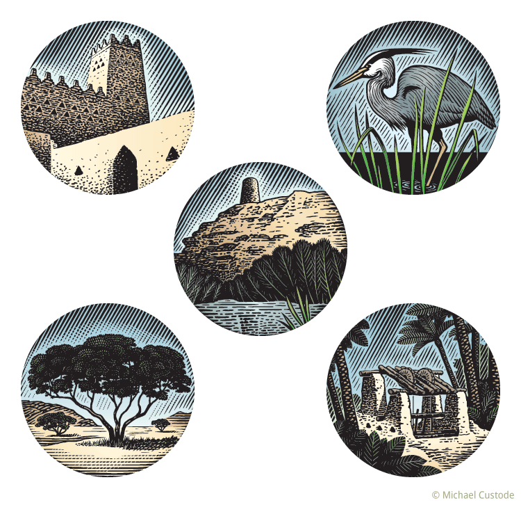 Series of woodcut-style illustrations in circular shapes: a tower from Diriyah; a blue Heron in a marsh; a round tower on a sandy cliff over a marsh;  an acacia tree in an arid plain; a wooden well structure.