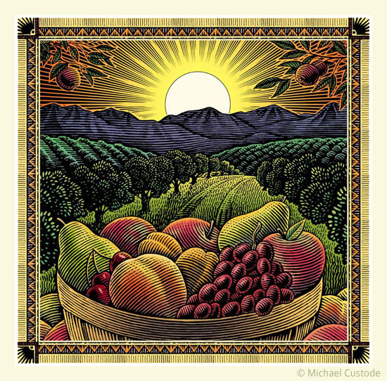 Woodcut-style illustration of a sunset over an orchard with a basket of assorted fruit in the foreground.
