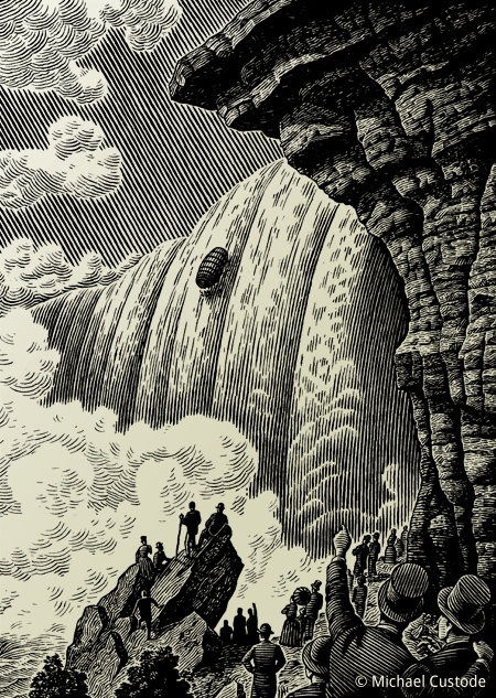 Woodcut-style illustration showing a barrel going over Niagara Falls while people in Victorian dress point in amazement in the foreground.