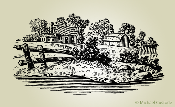 Woodcut-style illustration of a farmhouse and a barn with a broken-down fence in front. In the foreground is a lake or pond.