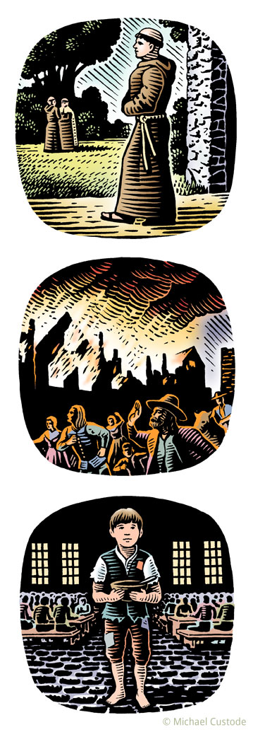 Series of three woodcut-style illustrations: a monk walking out of a stone building; people in pilgrim dress fleeing a burning town; and an orphan boy in ragged clothes holding a bowl and spoon in front of him.
