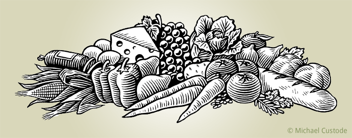 Woodcut-style illustration of an arrangement of food times, including grapes, breads, carrots, tomatoes, lettuce, corn, peppers, pears, salami, eggs and herbs.