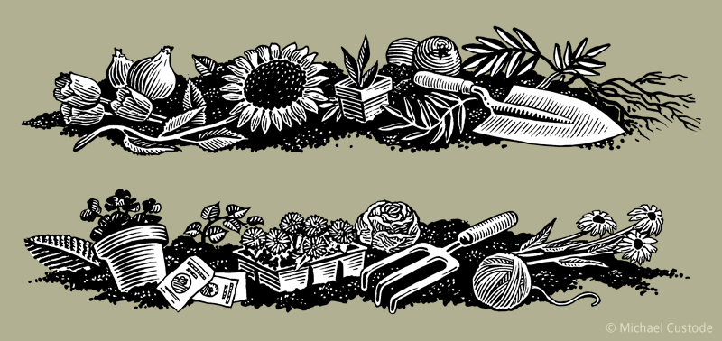 Two woodcut-style illustrations showing gardening tools and plants on a bed of dirt.