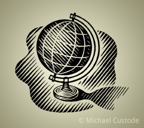 Woodcut-style illustration of a globe on a stand.