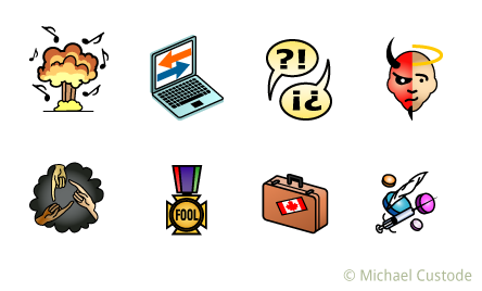 """Series of eight digital illustrations of icons: an nuclear bomb with music notes floating around it; a laptop with arrows pointing both ways on its screen; two speech bubbles with question and exclamation marks in them; a face that's half angel, half devil; drug paraphernalia; A suitcase with a Canadian flag sticker; A medal with the word """"Fool""""; a cloud shape with three hands pointing at each other."""