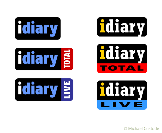Idiary logo ideas with the words diary; diary total; and idiary live.