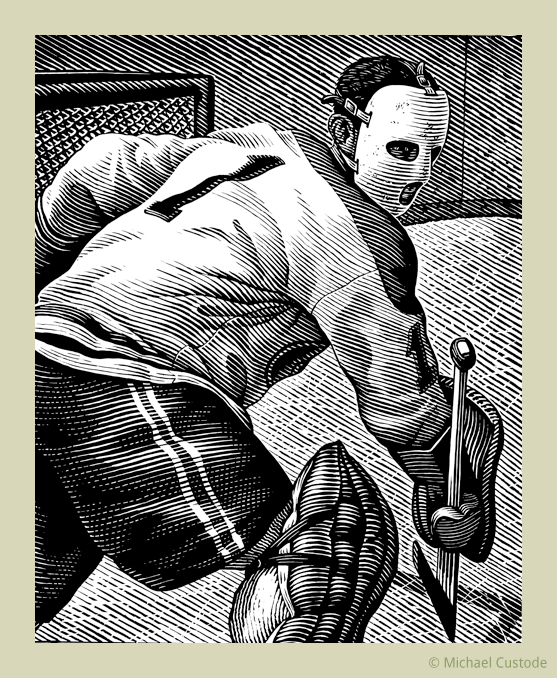 """Woodcut-style illustration of goalie Jacques Plante in front of a goalie net. He wears a goalie mask and a sweater with the number """"1"""" on it."""