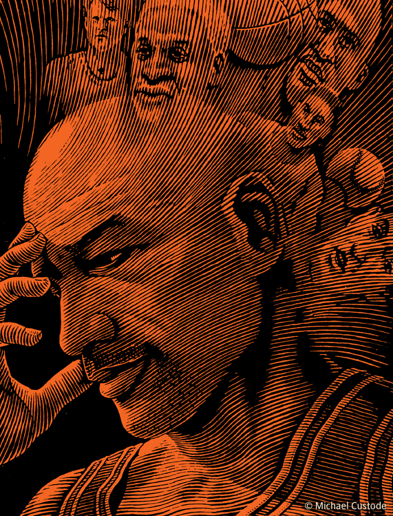 Woodcut-style illustration of Michael Jordan holding his head in is hand while images of his thoughts swirl out from the back of his head.