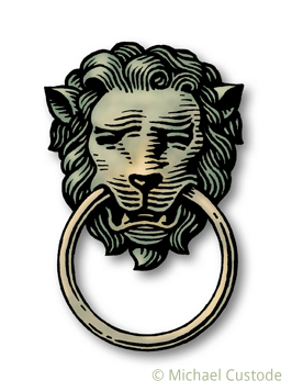 Woodcut-style illustration of a door knocker in the shape of a lion's head with the knocker ring in its mouth.