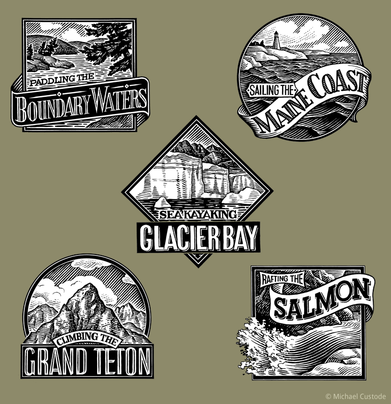 Five woodcut-style illustrations of travelling sticker images: Boundary Waters; Maine Coast; Glacier Bay: Grand Teton; The Salmon