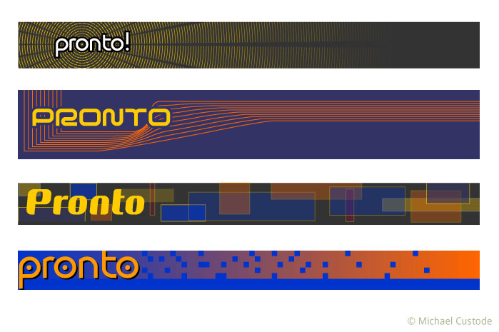 Four variations of the Pronto logo.