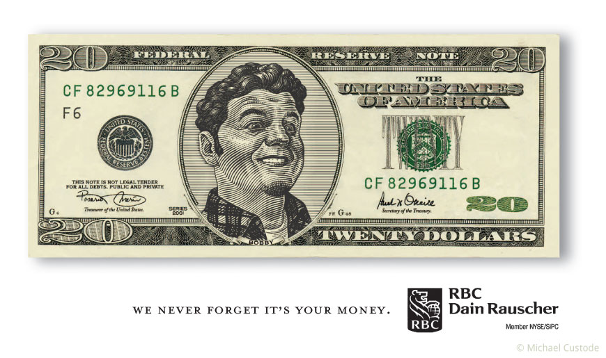 A billboard design featuring a woodcut-style illustration of a U.S. 20 dollar bill with an ordinary man's face where President Jackson would normally be.