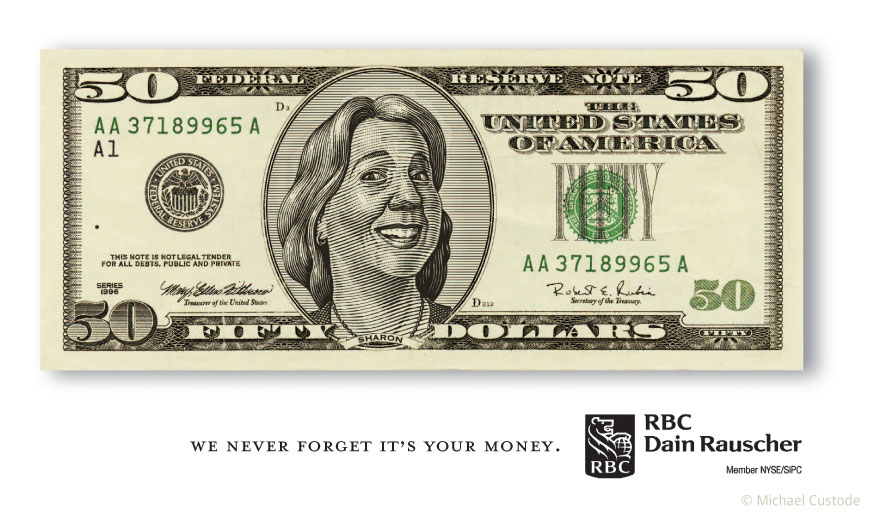 A billboard design featuring a woodcut-style illustration of a U.S. 50 dollar bill with an ordinary woman's face where Ulysses S. Grant would normally be.