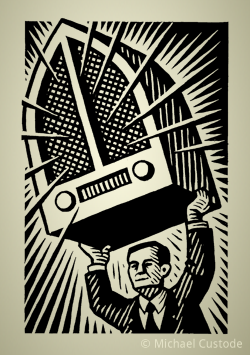 Woodcut-style illustration of a man holding a huge vintage radio over his head.