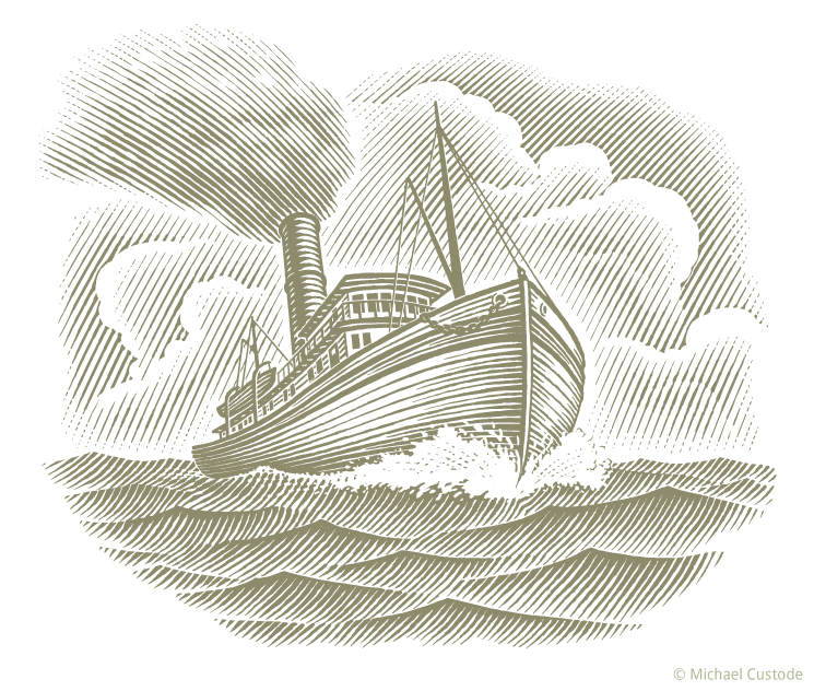 Woodcut-style illustration of a steamship plowing through ocean waves