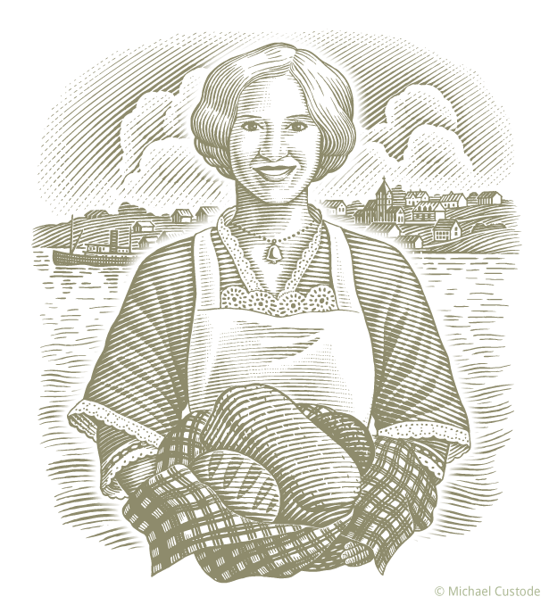 Woodcut-style illustration of a woman holding a basket of bread with a seaside village in the background.