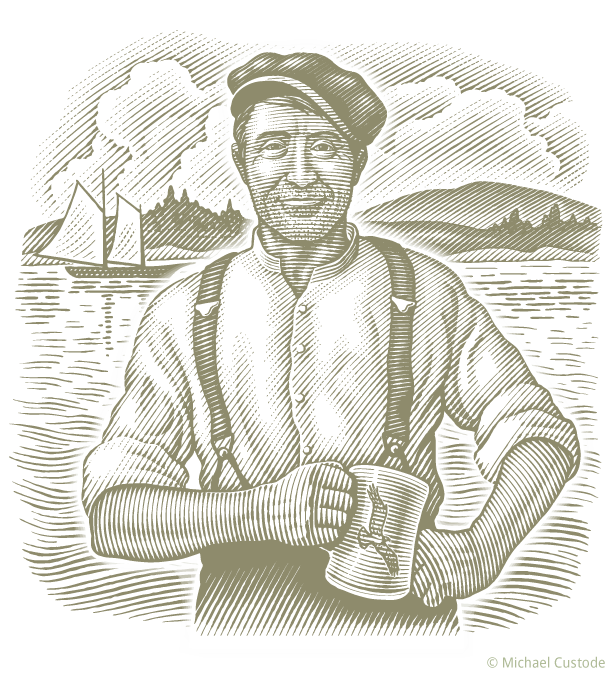 Woodcut-style illustration of a sailor in a cap holding a mug. In the background is a sailing boat and a coastline.