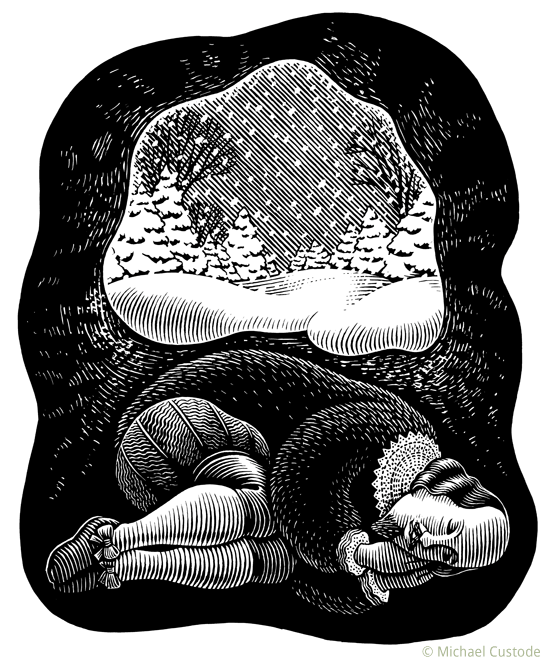 Woodcut-style illustration of Shakespeare in a bear-like fur coat, curled in a cave while it snows outside.