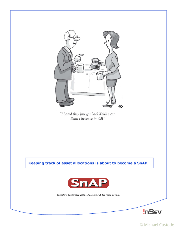 """Cartoon of a business man and woman pouring coffee. He's saying, I heard they just got back Keith's car. Didn't he leave in '05?"""""""