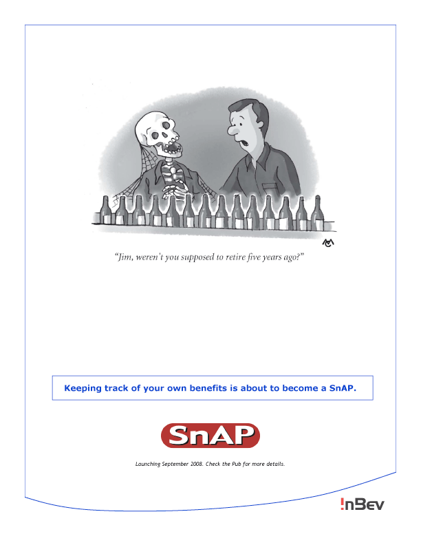 """Cartoon of a skeleton with cobwebs on it at an assembly line. A man is saying, """"Jim, weren't you supposed to retire five years ago?"""""""