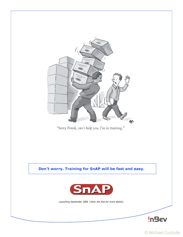 """Cartoon of a man carrying a huge pile of boxes that are about to fall. Another man walking by is saying, """"Sorry Frank, can't help you. I'm in training."""""""