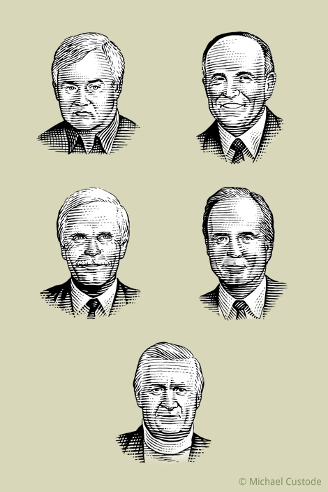 Woodcut-style illustrations of Donald Fehr, Rudy Giuliani, Ted Turner, Peter Ueberroth and George Steinbrenner.