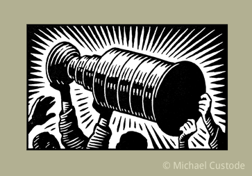 Woodcut-style illustration of the STanley Cup being held up over the heads of some hockey players.
