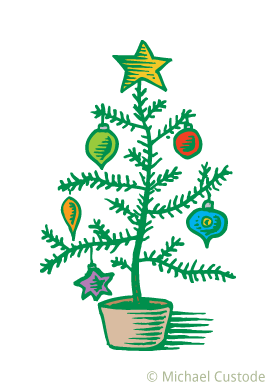 Sparse Christmas tree with colourful ornaments.