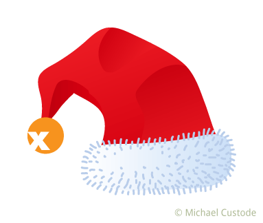 Santa hat with logo in place of a tassel.