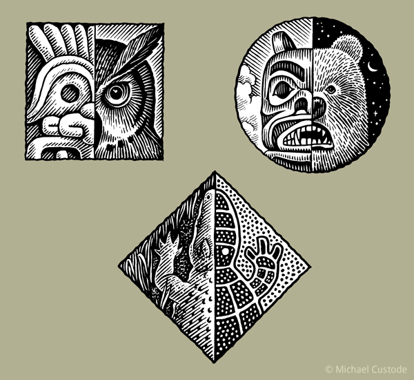 Series of three woodcut-style illustrations each featuring half of rendering of a real animal and the other half a stylized version depicted in aboriginal art: the animals are an owl, a bear and a crocodile.