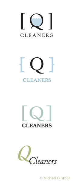 Series of design ideas for Q Cleaners logo.