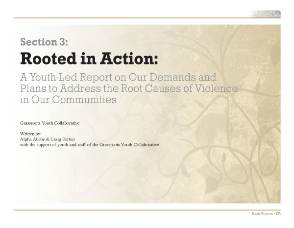 A sample page layout from the Roots of Youth Violence Report